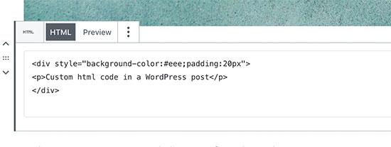 Adding custom HTML in WordPress post