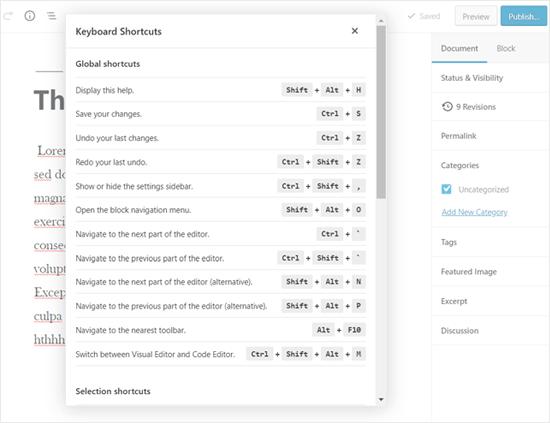 Hiển thị tùy chọn phím tắt WordPress