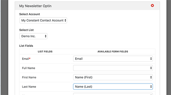 Select email list and map form fields