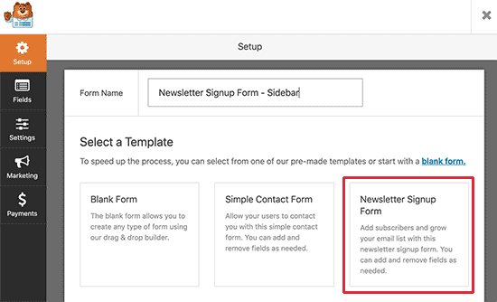 Creating a newsletter sign up form