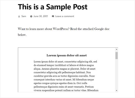 Документ Google, встроенный в WordPress Post - предварительный просмотр