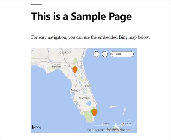 Карта Bing, встроенная в WordPress с помощью плагина