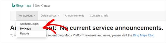 Bing Maps Dev Center My keys Option