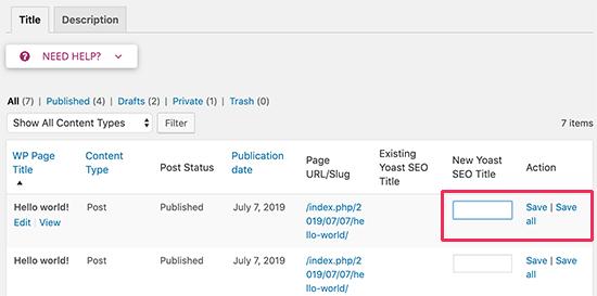 Bulk edit SEO title and description