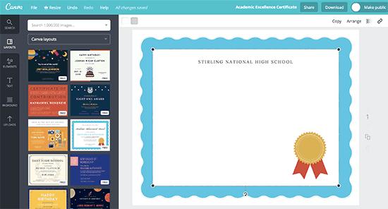 Select certificate image