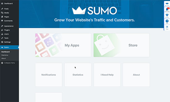 Sumo panel in WordPress dashboard