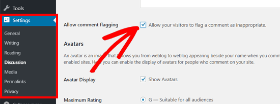 Allow Comment Flagging Option in WordPress Discussion Settings