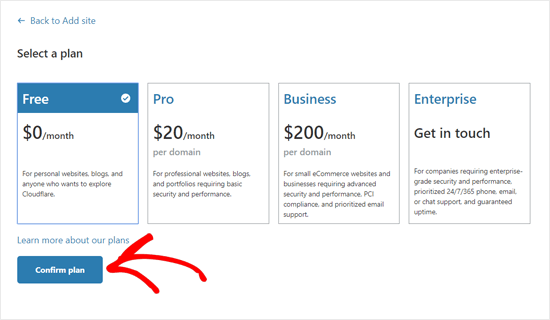Select a Cloudflare Plan