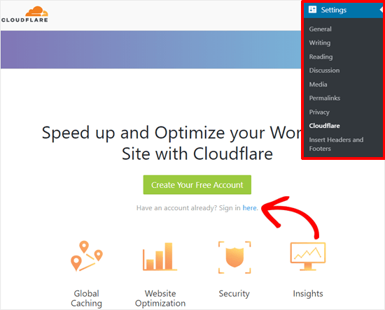 Sign in to Cloudflare Account with WordPress