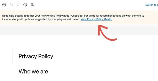 Ознакомьтесь с руководством по политике конфиденциальности WordPress для получения советов.