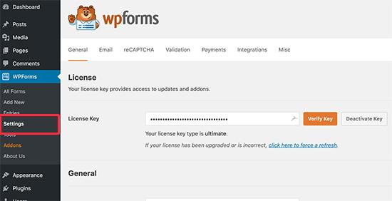 WPForms license key