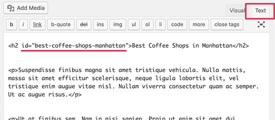 Adding anchor ID in Classic Editor