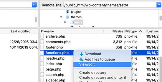 Edit WordPress functions file