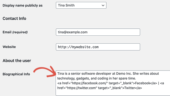 Add author bio in user profile