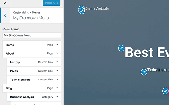Customize WordPress menus with a live preview