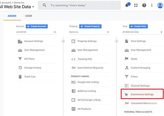eCommerce settings