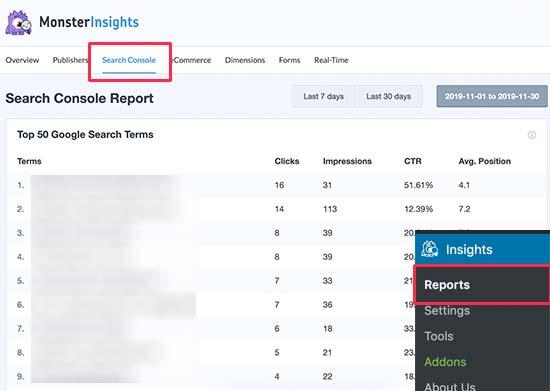 Search console report