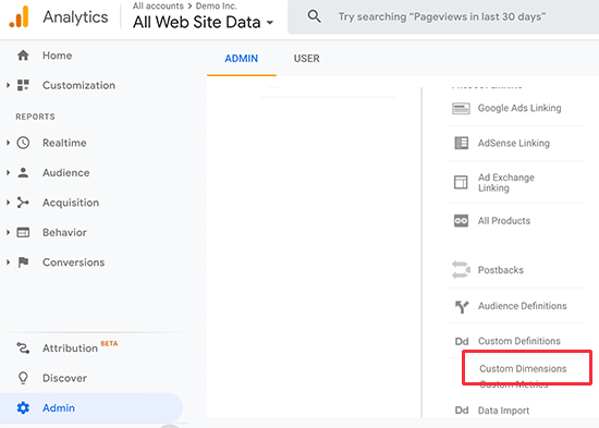 Setting up custom dimensions in Google Analytics