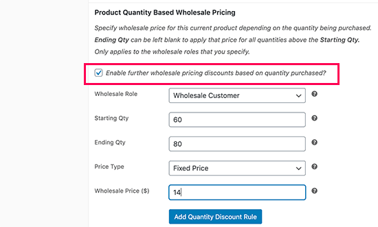 Quantity based pricing