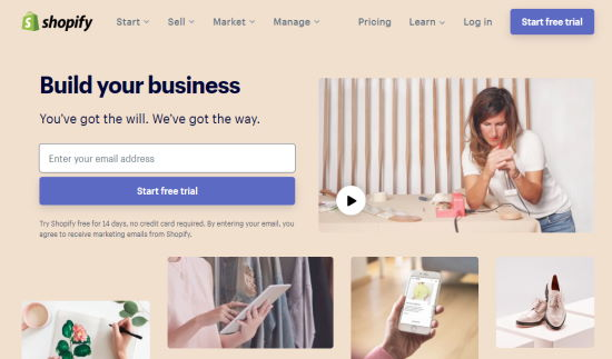 The Shopify eCommerce platform website