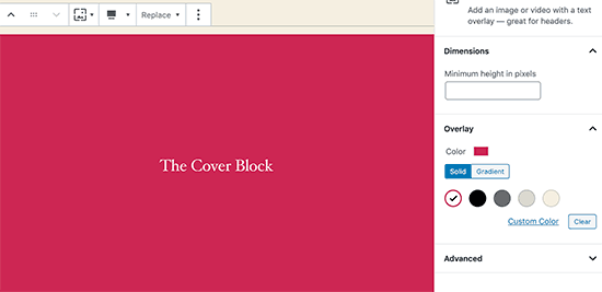 Cover block colors