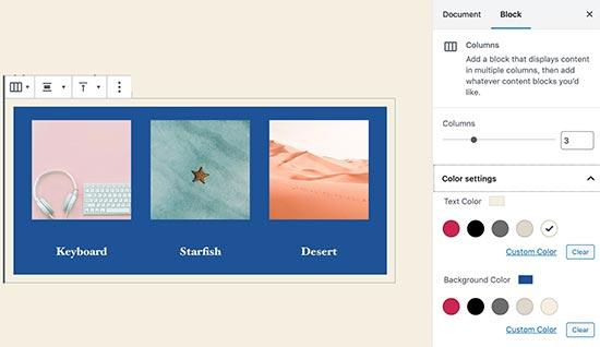 Warna kolom di WordPress 5.4