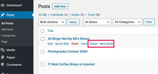 Clone post or create a new draft