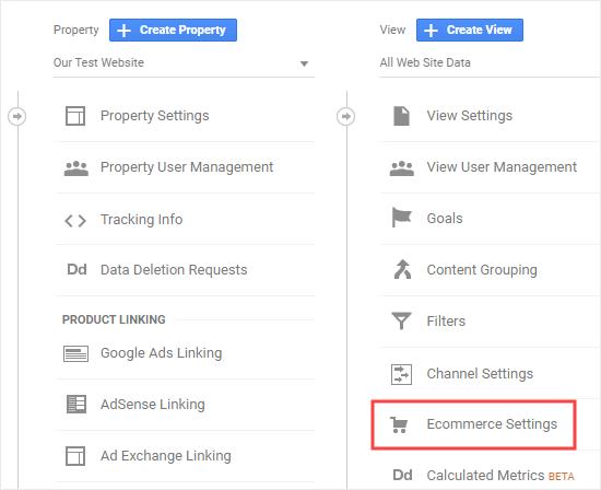 Configurações de comércio eletrônico do Google Analytics