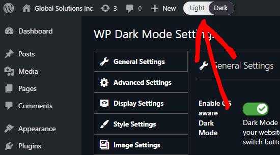 Sakelar sakelar di admin WordPress Anda untuk beralih antara terang (normal) dan gelap untuk antarmuka admin Anda