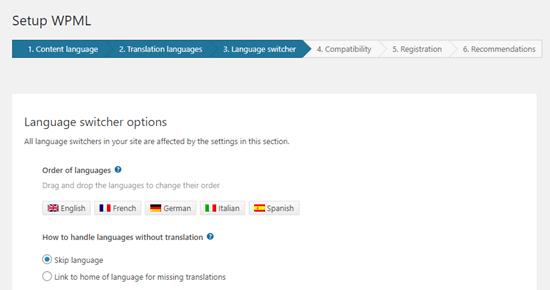 Memilih urutan bahasa untuk pengalih bahasa