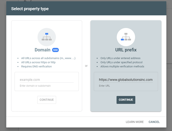 Using the URL prefix method to add your site to Google Search Console
