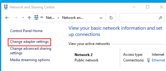 Clicking the Change adaptor settings link