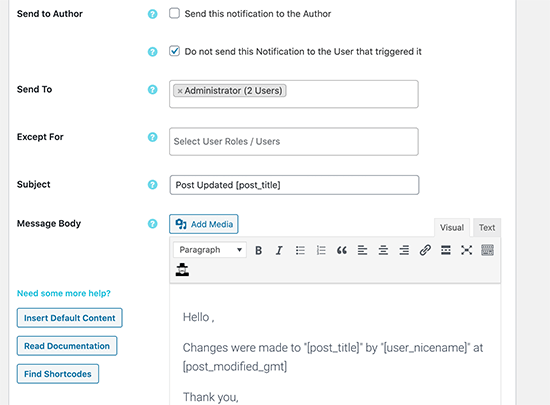 Setting up email settings