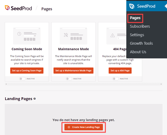Creating a new landing page in SeedProd
