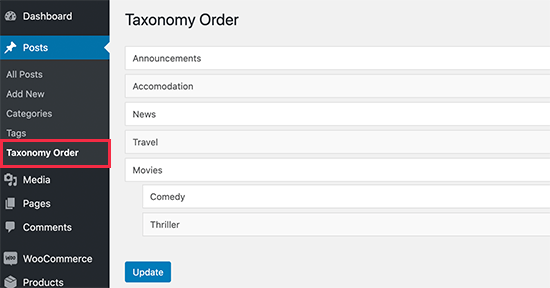 Change the Category Order