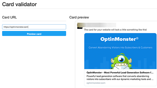 Preview and test your Twitter card images