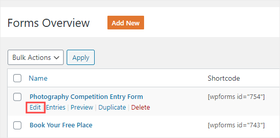 Editing a form you've already created in WPFormsv