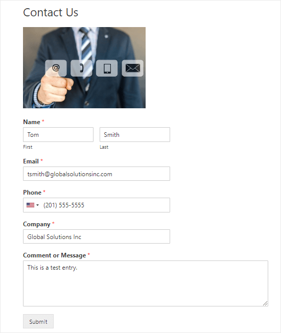 Sending a test entry through the contact form