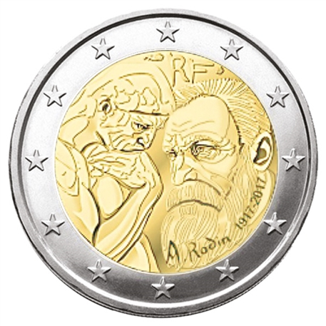 2 euro commemorative 2017 france auguste rodin