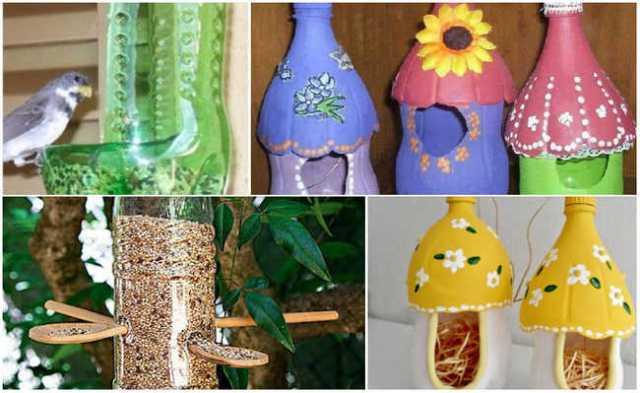 Casinhas e comedouros de pássaros feitos de garrafa PET