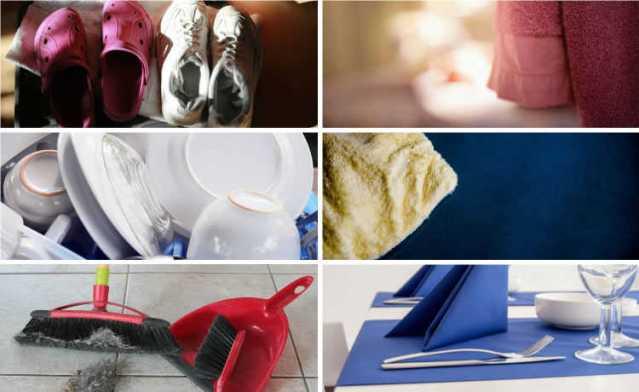 Calçados, vassoura, toalha, Guardanapos de pano, panos de limpeza e pratos