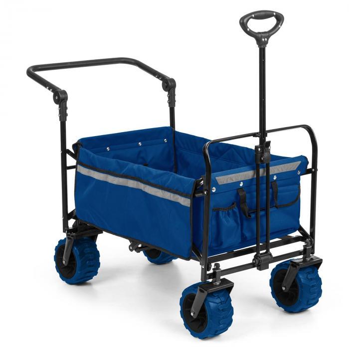 easy rider chariot de transport jusqu a 70kg barre telescopique pliant bleu