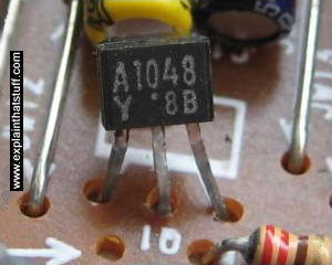 A transistor on a printed circuit board from a radio.