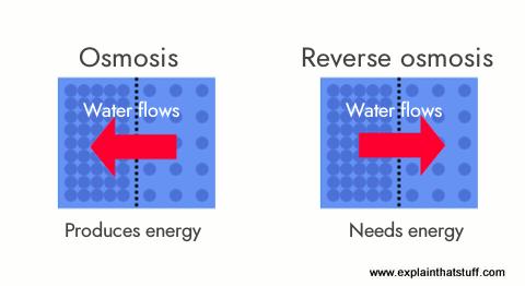 Artwork explaining how reverse osmosis works