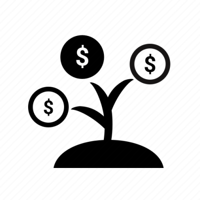 Graphic of a small plant growing money symbols out of its branches