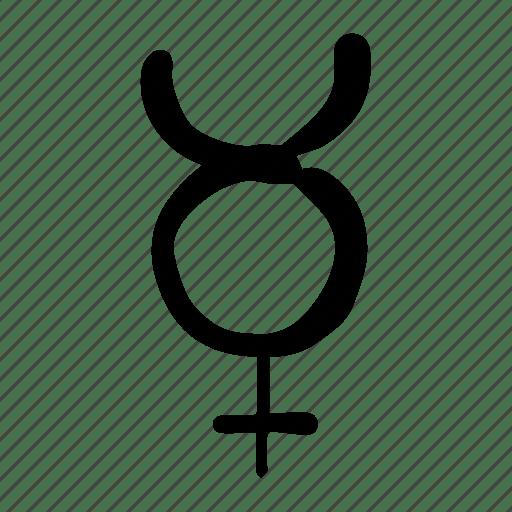 Handdrawn mercurio mercury planet sign icon