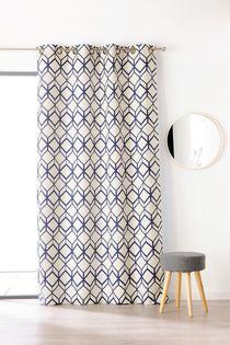 rideau geometrique bleu marine chota 135x250 cm