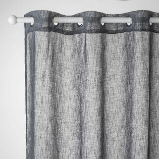 voilage gris ardoise effet lin caraz 140x240 cm