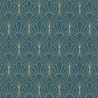 papier peint vinyl intisse art deco bleu canard enslow