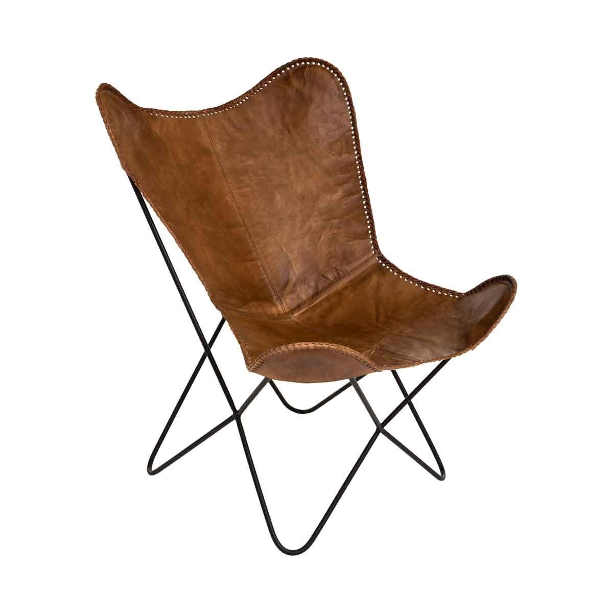 fauteuil papillon en cuir marron